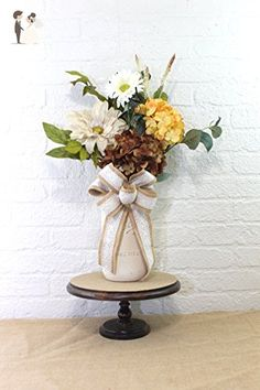 Swiss Chocolate Latte Half Gallon Mason Jar Floral Arrangement - Venue and reception decor (*Amazon Partner-Link)