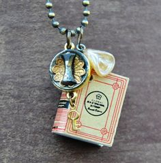 Charm Necklace Antique Button and Book by kandujewel on Etsy, $24.00