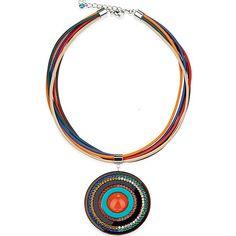 Swarovski & Leather Pendant Necklace   Orange & Blue   Coeur De Lion Jewelry   Rosellini $575