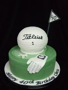 "golf theme - 10"" round with sportsball pan for golf ball. gumpaste/fondant accents."
