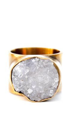Freeform Drusy & Brass Ring | LEIF