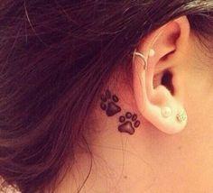 70 Pretty Behind the Ear Tattoos - Hund Tattoo - Trendy Tattoos, Small Tattoos, Tattoos For Women, Dog Tattoos, Cat Tattoo, Cat Paw Print Tattoo, Animal Tattoos, Girl Tattoos, Tattoo Pain