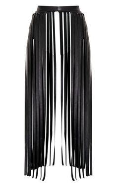 17cd50efaa Dee Black Faux Leather Extreme Fringe Belt | PrettyLittleThing USA Fringe  Skirt, Tassel Skirt,