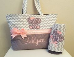 Chevron Elephant Diaper Bag ~ Gray ~ Grey ~ Pink ~ Baby Girl ~ Monogram ~ Personalized - Baby Boy Names Baby Girl Names Elephant Diaper Bag, Baby Girl Diaper Bags, Baby Girl Elephant, My Baby Girl, Baby Girl Newborn, Baby Love, Baby Baby, Elephant Theme, Diaper Bag Patterns