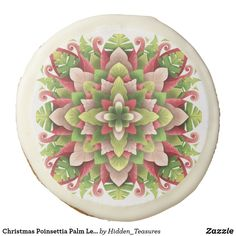 Christmas Poinsettia Palm Leaves Mandala Sugar Cookie Christmas Mandala, Christmas Poinsettia, Artificial Food Coloring, Tree Nuts, Custom Cookies, Freshly Baked, Chocolate Flavors