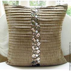 Текстиль, ковры ручной работы. Ярмарка Мастеров - ручная работа. Купить Декоративная подушка песок и лед. Handmade. Бежевый