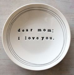 IN STOCK 5 porcelain dish dear mom: i love you by mbartstudios Ceramic Pottery, Pottery Art, Ceramic Art, Diy Clay, Clay Crafts, Biscuit, Pottery Lessons, Dear Mom, Love You