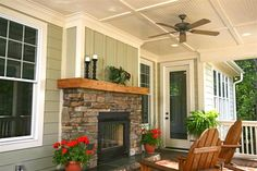 I love this porch! See Through Outdoor Fireplace