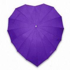 Fashion Purple Heart Umbrellas with 190T Pongee Fabric
