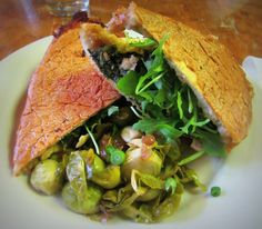 Vegan Cuban Sandwich and Brussels Sprouts at Green Goddess restaurant, New Orleans