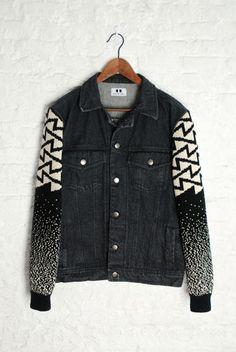 Senyor Pablo men denim black jacket with black knit sleeve