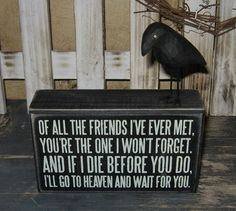 BEST FRIEND Wood Box Sign*+Black CROW*Primitive Decor*Great Christmas Gift!