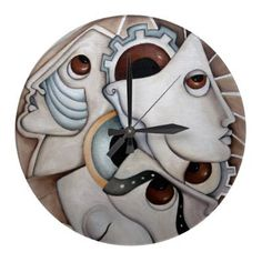 "From my original painting "" When the universe speaks"" oil on canvas a beautiful and very original design for this Wall Clock. Profiles of people and masks, with gears and eyeballs in light brown, dark brown white and light blue...an unusual design for art lovers...By SimonaMereuArt $26.45"