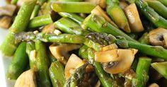 Asparagus and mushroom stir-fry with simple Asian garlic sauce (vegan and gluten-free)