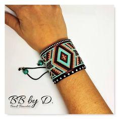 Beads Miyuki Délicas wide Cuff Bracelet. Multirangs turquoise | Etsy Seed Bead Bracelets, Seed Bead Jewelry, Bead Jewellery, Cuff Bracelets, Bead Loom Patterns, Beading Patterns, Friendship Bracelets Designs, Beaded Jewelry Designs, Beaded Crafts