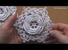 CROCHET Flower Motif Hexagon Easy Pattern Tutorial Part 1 Crochet hexagon 3d motif - YouTube