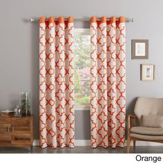 Aurora Home Moroccan Tile Print Room Darkening Grommet Top Curtain Panel Pair Orange Size 52 X 84