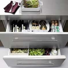 Love the idea of refrigerator drawers, no need for a bulky fridge.  Whirlpool under-counter refrigerator drawers