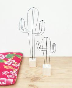 Petit cactus décoratif en fil de fer : Accessoires de maison par 123ptitspois