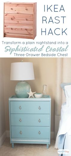 You don't have to have a lot of building experience to turn this simple pine dresser into a gorgeous nightstand. This Ikea Rast hack has a sophisticated coastal vibe that is perfect for a beach house or for a tranquil bedroom space. Ikea Bedroom, Bedroom Decor, Decor Room, Bedroom Ideas, Furniture Makeover, Diy Furniture, Coastal Furniture, Bedroom Furniture, Farmhouse Furniture