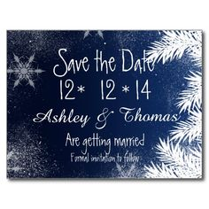 Elegant Navy Blue Branch Snowflake Winter Wedding Invitation Collection. Send your save the date card with this elegant, modern and winter wonderland wedding theme featuring snowflakes, falling snow, stardust and snowy pines branches in white. Perfect for winter weddings, Christmas and New Year's eve weddings Text fully customisable