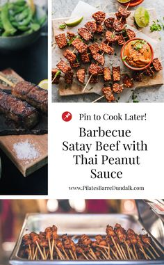 Barbecue Satay Beef with Thai Peanut Sauce Recipe Peanut Sauce Recipe, Thai Peanut Sauce, Vegan Vegetarian, Vegetarian Recipes, Healthy Recipes, My Favorite Food, Favorite Recipes, Chinese Takeaway, Healthy Moms