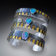 Cuffs Boulder opal silver gold - Patricia McLeery