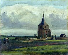 The Old Cemetry-tower at Nuenen with Plowing Farmers Vincent van Gogh - 1884 Kröller-Müller Museum - Otterlo (Netherlands) Painting - oil on canvas Height: 34 cm (13.39 in.), Width: 42 cm (16.54 in.)