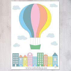 Jubel - A3 Poster, City Air Balloon, large print, 297 x 210 cm matte paper, by Jubelshop on Etsy. www.jubelshop.no