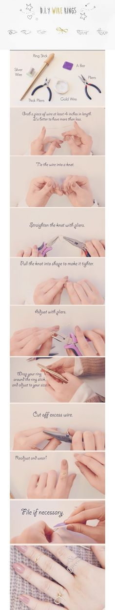 5 Quick and Easy Adjustable DIY Wire Wrapped Rings Do It Yourself Projects, Diy Projects To Try, Ring Tutorial, Diy Rings, Wire Wrapped Rings, Wire Wrapping, Diy Jewelry, Bobby Pins, Diys