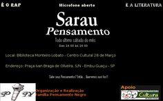 """Criado pelo grupo de rap de Embu Guaçu o Pensamento Negro, teve inicio em 2012 para proporcionar a troca cultural com poetas de várias regiões de São Paulo. Microfone aberto para incentivar o gosto pela leitura unindo o rap e a literatura. Acontece no último sábado do mês. Mestre de cerimônia: Mano Ril e Dú...<br /><a class=""""more-link"""" href=""""https://catracalivre.com.br/geral/rede/barato/sarau-pensamento-12a-edicao-3/"""">Continue lendo »</a>"""