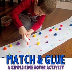 Looking for an easy preschool fine motor activity? Try this simple match and glue activity! An easy indoor activity for preschoolers from Busy Toddler.