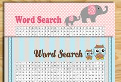 Today I made Free Printable Baby Shower Word Search Game in various…