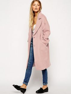ASOS Cocoon Coat in Pale Pink