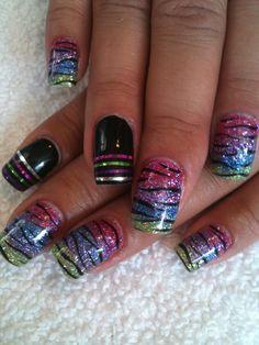 multi glitter zebra