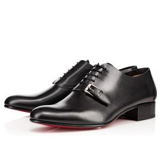 """Less is more with """"Eugene Flat."""" Its black calf leather upper is pleated only at the heel, creating a sleek and seamless silhouette. An elegant strap and buckle across the arch complete this lace-up look. Derby Shoes, Mans World, Manolo Blahnik, Calf Leather, Jimmy Choo, Calves, Christian Louboutin, Oxford Shoes, Lace Up"""