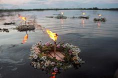 Pictured Kupala Night celebration in Belarus on a banks river Pripet near Turau city. Kupala Night, also known as Ivan Kupala Day, is celebrated in Ukraine, Belarus and Russia currently on the night of 6-7 July in the Gregorian or New Style calendar, which is 23-24 June in the Julian or Old Style calendar still used by many Orthodox Churches. http://en.wikipedia.org/wiki/Kupala_Night