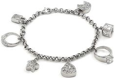 Sterling Silver CZ Charm Bracelet Star Moon Lock Hearts Rings White Gold Plated  #charmbracelet #girlsbracelet #girlsjewelry #charms #silverbracelet #silver #cubiczirconia