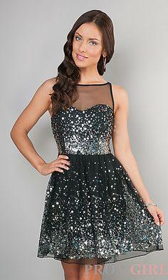 Short Silver Sparkling Sleeveless Dress at PromGirl.com | Snowball dress?