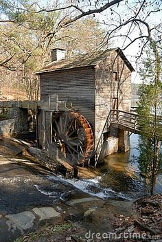 Grist Mill Stone Mountain Georgia by Paul Brennan on ARTwanted Stone Mountain Georgia, Mountain Park, Old Grist Mill, Water Powers, Water Mill, Saint Martin, Le Moulin, Covered Bridges, Old Barns