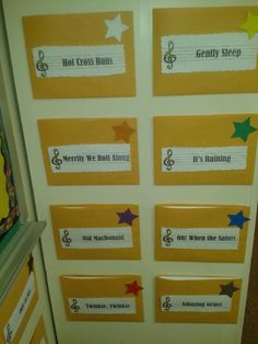 Elementary music-recorder karate music....instead of constantly handing out packets....use folders to hold the music on the classroom wall with a color coded star the associate the song with the level or belt color.