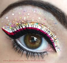 Dramatic pink and black liner with multicoloured glitter eye make up #eyes #makeup #eyeshadow by Angela J make-up