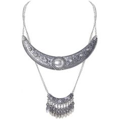 Humble Chic NY Ava Tiered Necklace ($20) ❤ liked on Polyvore featuring jewelry, necklaces, silvertone, long strand necklace, layered necklace, long chain necklace, boho necklace and bib statement necklace