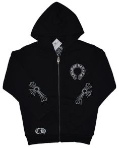 Black Chrome Hearts Hoodie With Horseshoes CH Logo On Sale Black Cotton hoodie jacket by chrome hearts. Horseshoes logo front. Black Chrome Hearts Horseshoes CH Logo Hoodie. Small signature cross printed on both sleeves. CH Letter detail front. CH Logo back. Cotton. Imported. http://www.chromeheartsonlineoutlet.com/