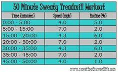 50 Minute Sweaty Treadmill Workout