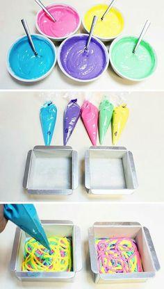Color dye white cake mix to make tye dye  cake