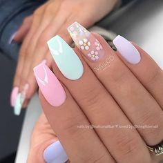 60 Prettiest And Stylish Summer Nail Designs - nail art designs, colorful nail a. Summer Acrylic Nails, Best Acrylic Nails, Summer Nails, Pastel Color Nails, Spring Nails, Stylish Nails, Trendy Nails, Cute Nails, Nail Art Designs