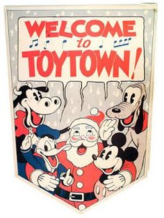 """Kay Kamen point-of-sale banner, Former retail hat merchant Herman """"Kay"""" Kamen's impressive track record for introducing new products preceded him, and in 1932 he was personally selected by Walt Disney to serve as the Company's sole licensing represe Merry Christmas, Christmas Banners, Vintage Christmas Cards, Disney Christmas, Christmas Images, Vintage Cards, Christmas Artwork, Christmas Decorations, Xmas"""
