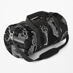 """""""Steampunk Silver Keys and Key Holes Pattern"""" Duffle Bag by HavenDesign   Redbubble Vintage Keys, Duffel Bag, Print Design, Shoulder Strap, Steampunk, Just For You, Baggage, Clutches, Silver"""