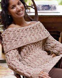 7 free cable knitting patterns    trop de torsades > les conserver sur le col uniquement